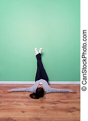 parede, pés, verde, relaxante