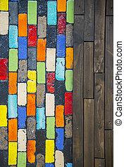 parede, padrão, bloco madeira, coloridos