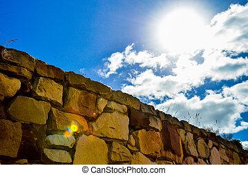 parede, pedra azul, céu