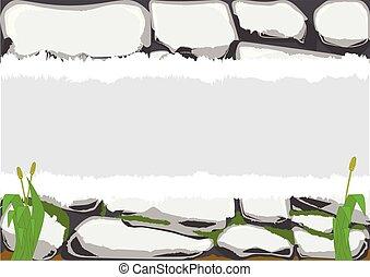 parede, pedra, cópia, cinzento, espaço