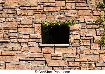 parede, pedra, janela