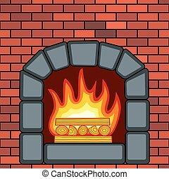 parede, pedra, lareira, tijolo