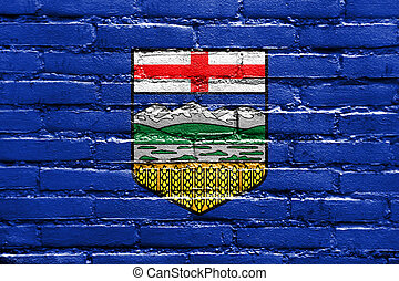parede pintada, bandeira, alberta canadá, tijolo, província