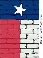 parede pintada, bandeira, texano, tijolo