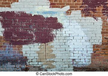 parede pintada, tijolo, textura