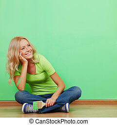 parede, pintura, mulher