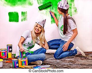 parede, pintura, mulher, home.