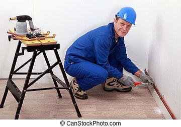 parede, profissional, repairman, trabalhando