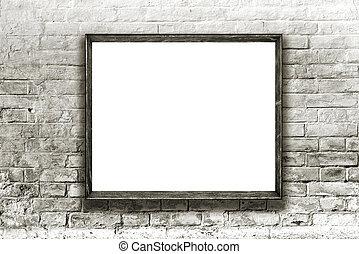 parede, quadro, galeria arte, penduradas