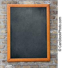 parede, quadro-negro, m, fundo, penduradas, tijolo, envelhecido, seu