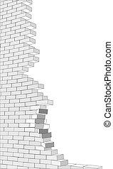 parede, quebrada, branca