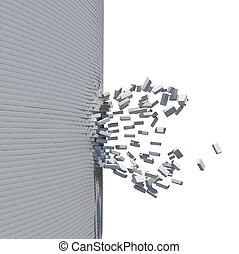parede, quebrada, tijolo