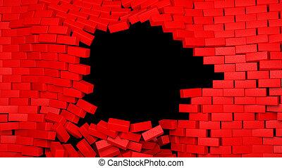 parede, quebrada, tijolo, experiência preta