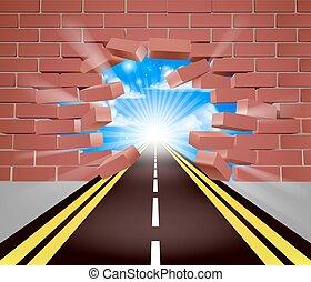 parede, quebrando, estrada