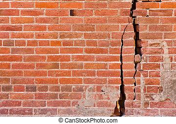 parede, rachado, tijolo