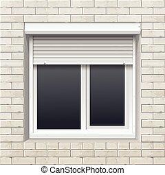 parede, rolando, janela, tijolo, venezianas