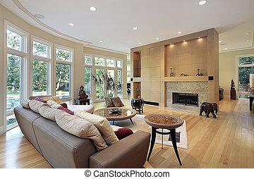 parede, sala de estar, janelas
