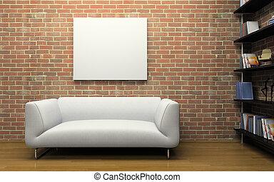 parede, sofá, modernos, interior, tijolo, branca