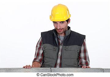 parede, tímido, atrás de, trabalhador