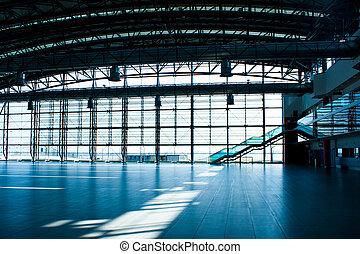 parede, terminal, vidro, aeroporto, interior, vazio