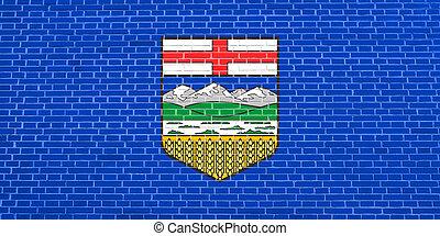 parede, textura, bandeira, fundo, alberta, tijolo