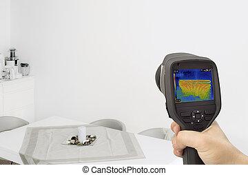 parede, thermography, aquecimento