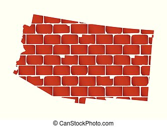 parede, tijolo, arizona, silueta