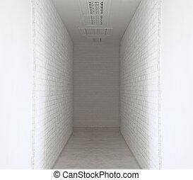 parede, tijolo branco, maneira, passeio