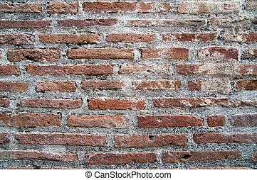 parede tijolo, de, pompeian, ruínas, como, fundo