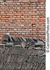parede tijolo, e, chinês, azulejos