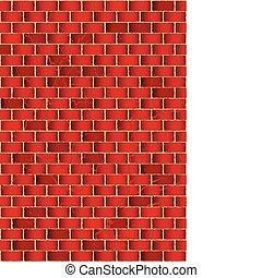 parede, tijolo, grunge, vermelho