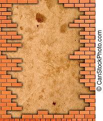 parede tijolo, grungy, quadro
