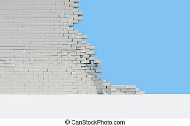 parede, tijolo, inacabado