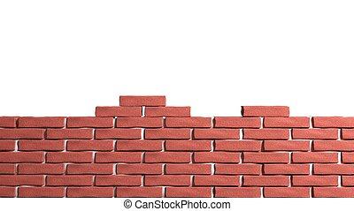 parede tijolo, isolado, metade, branca