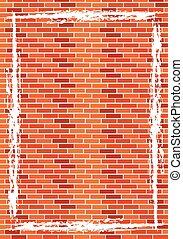 parede, tijolo, manchado, antigas, resistido