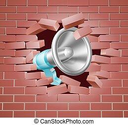 parede, tijolo, megafone, através, quebrar
