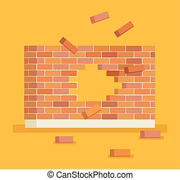 parede, tijolo, quebrar, buraco