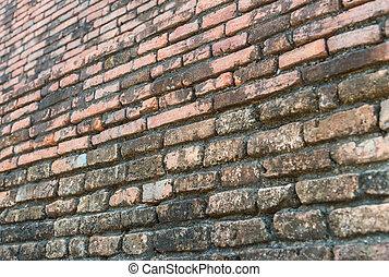 parede, tijolo, seletivo, antigas, foco
