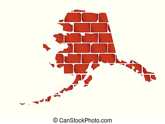 parede, tijolo, silueta, alasca