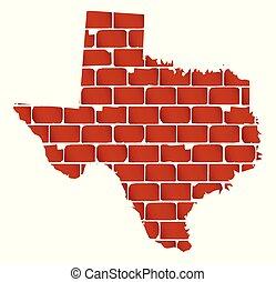 parede, tijolo, silueta, texas