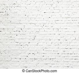 parede tijolo, textura, branca