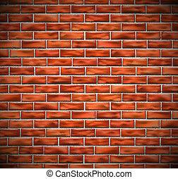 parede, tijolo, vermelho