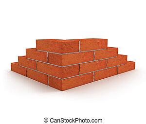 parede, tijolos, feito, canto, laranja