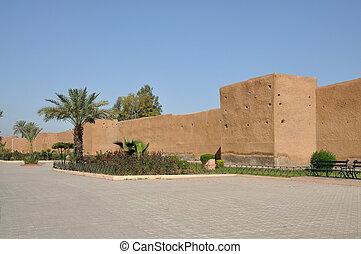 parede velha cidade, em, marrakech, marrocos
