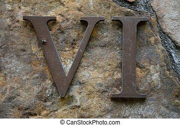 parede, vi, seis, -, romana, rocha, numeral