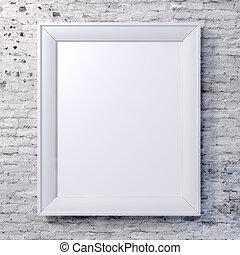 parede, vindima, quadro, em branco