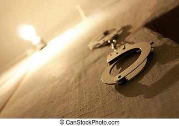 parede, wristbands, prisão