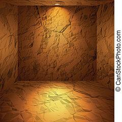 paredes, cavado, de barro, habitación