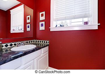 paredes, cuarto de baño, brillante rojo