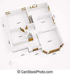 paredes, groundplan, 3d